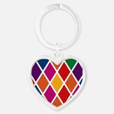 Colorful Harlequin Pattern Heart Keychain