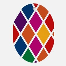 Colorful Harlequin Pattern Ornament (Oval)