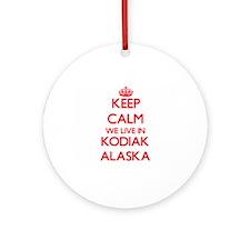 Keep calm we live in Kodiak Alask Ornament (Round)