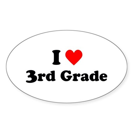 I Heart 3rd Grade Oval Sticker