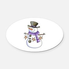 SNOWMAN WITH STAR GARLAND Oval Car Magnet
