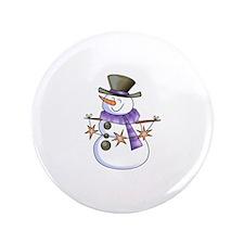 "SNOWMAN WITH STAR GARLAND 3.5"" Button"