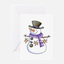 SNOWMAN WITH STAR GARLAND Greeting Cards