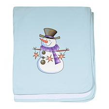 SNOWMAN WITH STAR GARLAND baby blanket