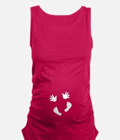Baby Hands and Feet White Maternity Tank Top