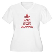 Keep calm we live in Lewes Delaw Plus Size T-Shirt