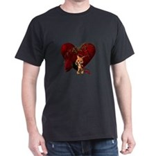 Cute cat with roses and heart T-Shirt