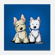 KiniArt Terrier Duo Tile Coaster
