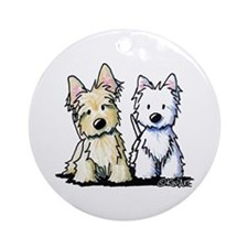KiniArt Terrier Duo Ornament (Round)