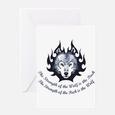 STRENGTH OF THE WOLF Greeting Cards