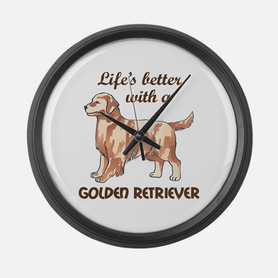 BETTER WITH RETRIEVER Large Wall Clock