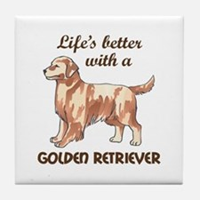 BETTER WITH RETRIEVER Tile Coaster