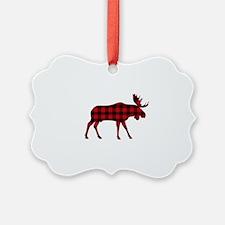Plaid Moose Animal Silhouette Ornament