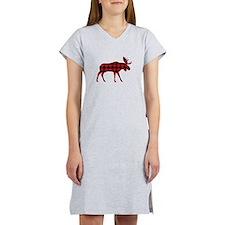 Plaid Moose Animal Silhouette Women's Nightshirt
