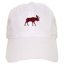 Plaid Moose Animal Silhouette Baseball Hat