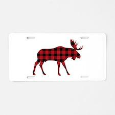 Plaid Moose Animal Silhouette Aluminum License Pla