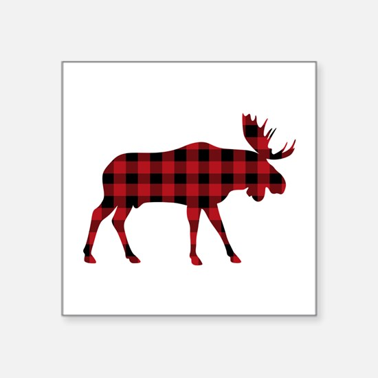 Plaid Moose Animal Silhouette Sticker