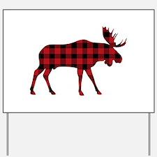 Plaid Moose Animal Silhouette Yard Sign