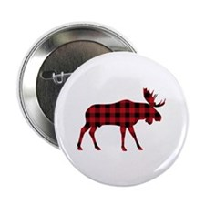 "Plaid Moose Animal Silhouette 2.25"" Button (10 pac"