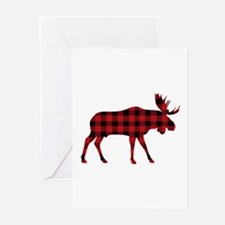 Plaid Moose Animal Silhouette Greeting Cards