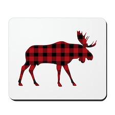 Plaid Moose Animal Silhouette Mousepad