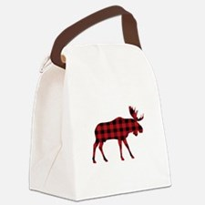 Plaid Moose Animal Silhouette Canvas Lunch Bag