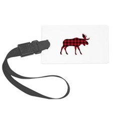 Plaid Moose Animal Silhouette Luggage Tag