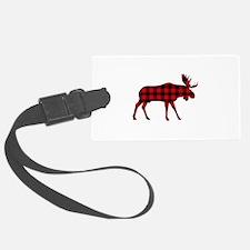 Plaid Moose Animal Silhouette Luggage Tag