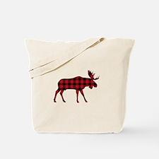 Plaid Moose Animal Silhouette Tote Bag