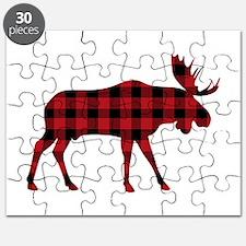 Plaid Moose Animal Silhouette Puzzle