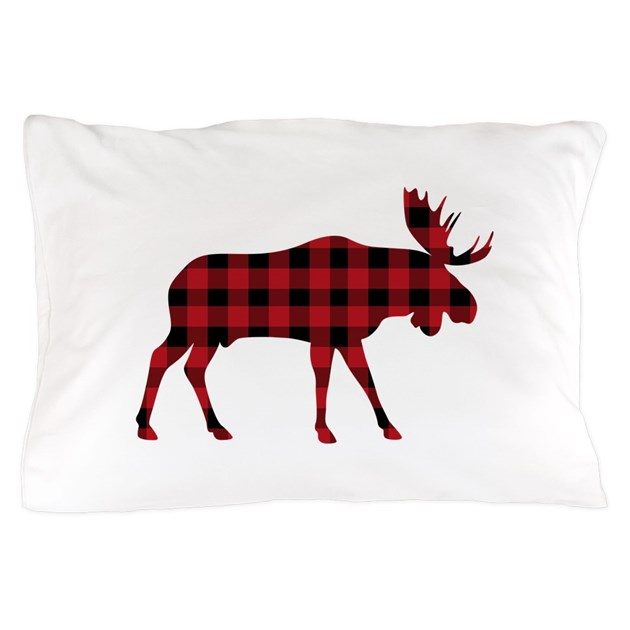 Animal Silhouette Pillow Covers : Plaid Moose Animal Silhouette Pillow Case by Hopscotch16