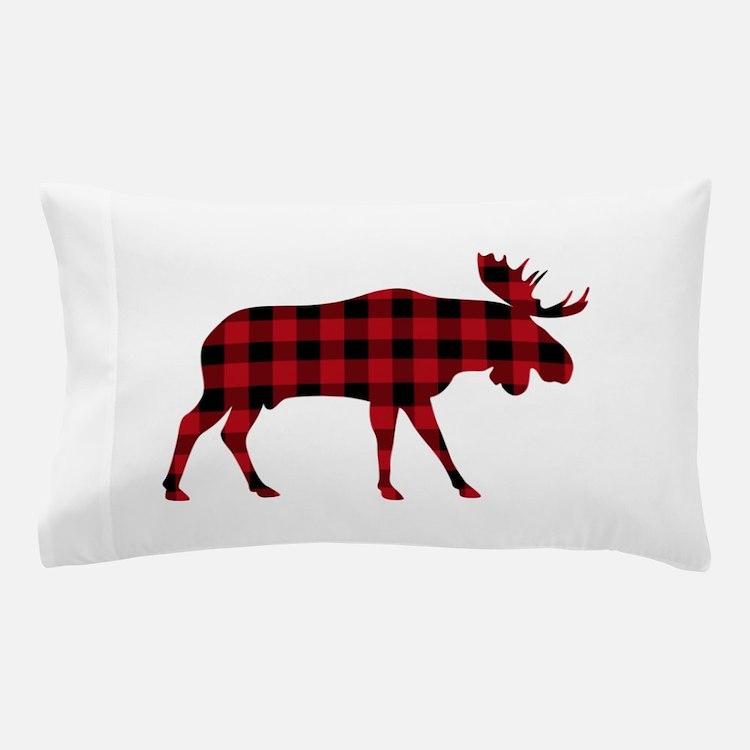 Plaid Moose Animal Silhouette Pillow Case