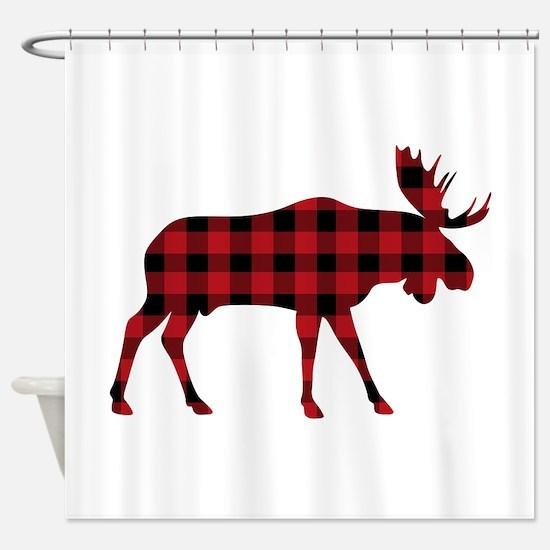 Plaid Moose Animal Silhouette Shower Curtain