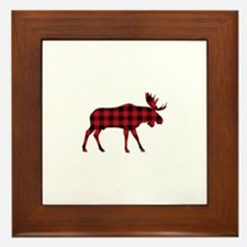 Plaid Moose Animal Silhouette Framed Tile
