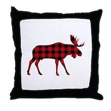 Plaid Moose Animal Silhouette Throw Pillow
