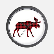 Plaid Moose Animal Silhouette Wall Clock
