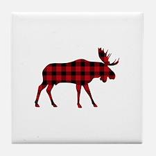 Plaid Moose Animal Silhouette Tile Coaster