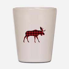Plaid Moose Animal Silhouette Shot Glass