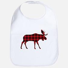 Plaid Moose Animal Silhouette Bib