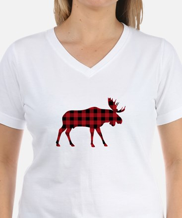 Plaid Moose Animal Silhouette T-Shirt