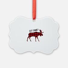 Plaid Moose Animal Silhouette Game Ornament