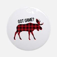 Plaid Moose Animal Silhouette Game Ornament (Round