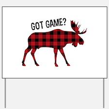 Plaid Moose Animal Silhouette Game Yard Sign