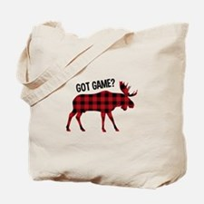 Plaid Moose Animal Silhouette Game Tote Bag