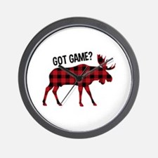 Plaid Moose Animal Silhouette Game Wall Clock