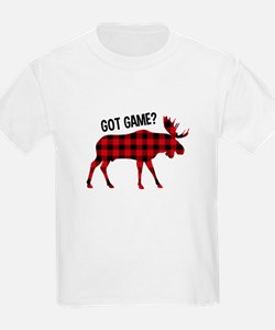 Plaid Moose Animal Silhouette Game T-Shirt