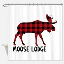 Plaid Moose Animal Silhouette Lodge Shower Curtain