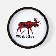 Plaid Moose Animal Silhouette Lodge Wall Clock