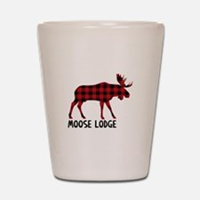 Plaid Moose Animal Silhouette Lodge Shot Glass