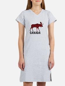 Plaid Moose Animal Silhouette Canada Women's Night